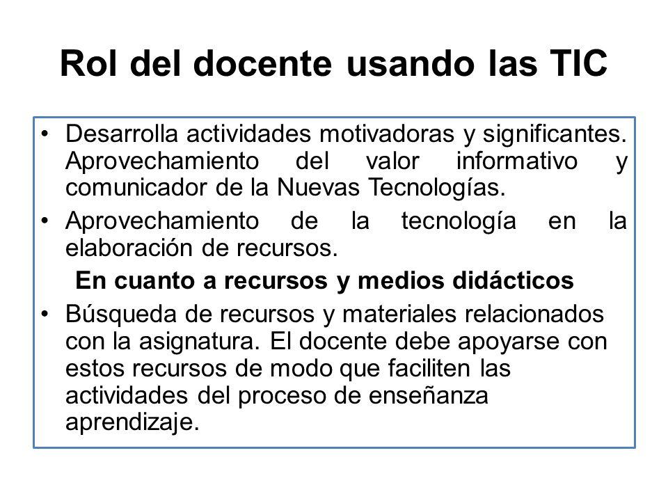 Rol del docente usando las TIC