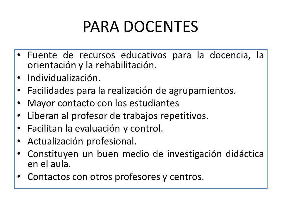 PARA DOCENTES Fuente de recursos educativos para la docencia, la orientación y la rehabilitación. Individualización.