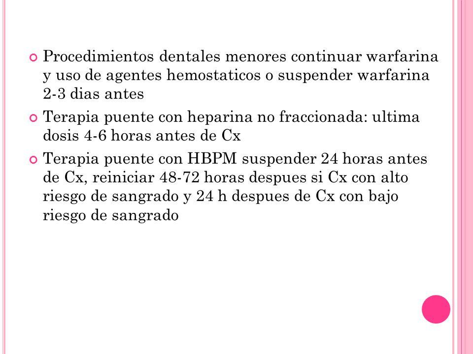 Procedimientos dentales menores continuar warfarina y uso de agentes hemostaticos o suspender warfarina 2-3 dias antes