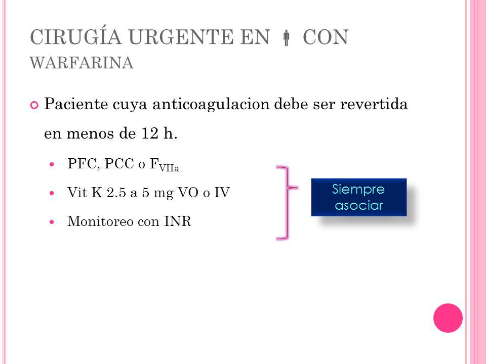 CIRUGÍA URGENTE EN  CON warfarina