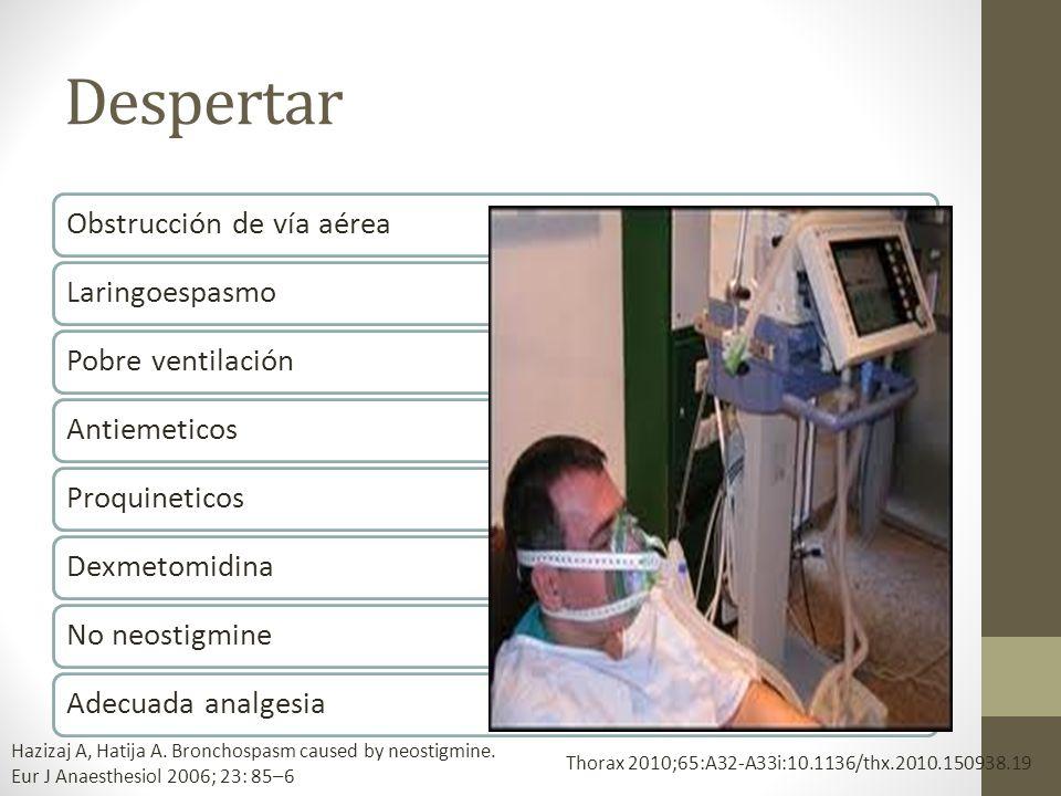 Despertar Obstrucción de vía aérea Laringoespasmo Pobre ventilación