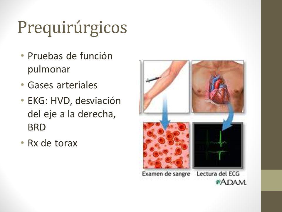 Prequirúrgicos Pruebas de función pulmonar Gases arteriales
