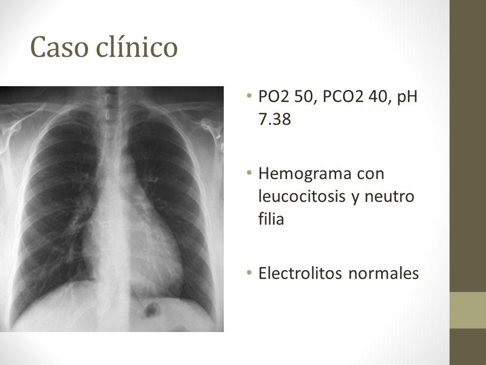 Caso clínico PO2 50, PCO2 40, pH 7.38. Hemograma con leucocitosis y neutro filia.