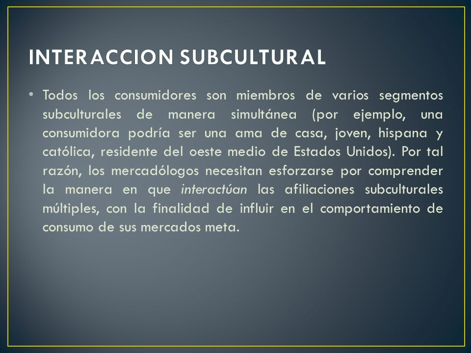INTERACCION SUBCULTURAL