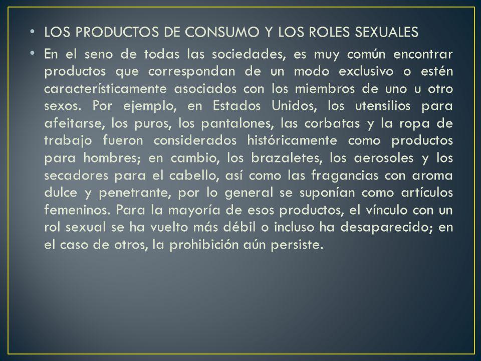 LOS PRODUCTOS DE CONSUMO Y LOS ROLES SEXUALES