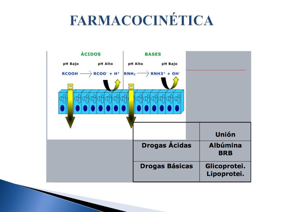 FARMACOCINÉTICA Ácidos débiles → no ionizados, liposolubles en medios ácidos. Drogas básicas → menos ionizados, y liposolubles en medios alkalinos.