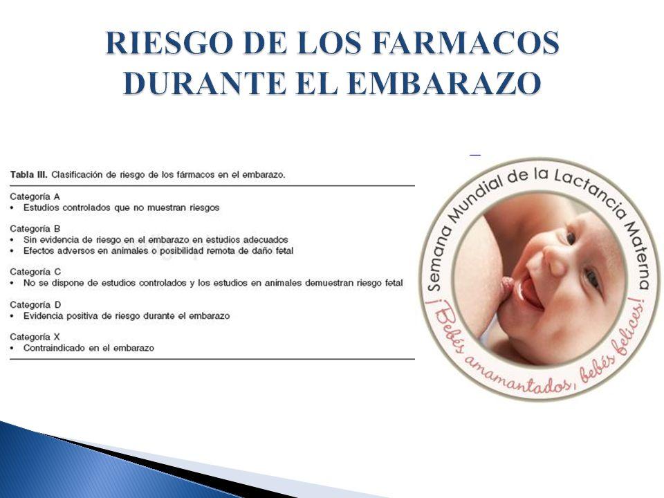 RIESGO DE LOS FARMACOS DURANTE EL EMBARAZO