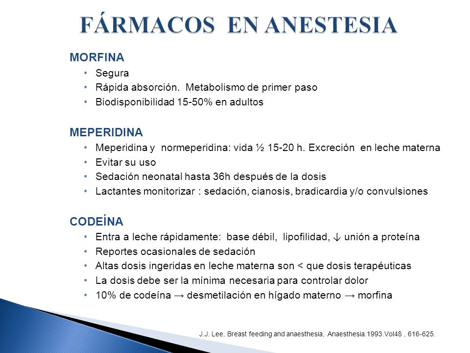 FÁRMACOS EN ANESTESIA MORFINA MEPERIDINA CODEÍNA Segura