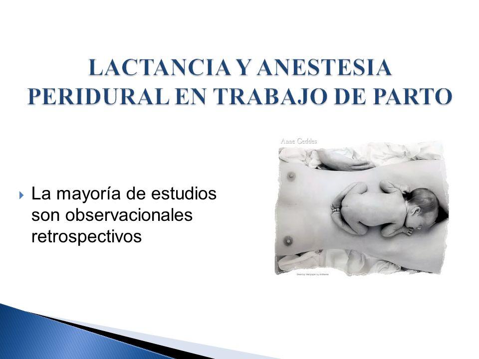 LACTANCIA Y ANESTESIA PERIDURAL EN TRABAJO DE PARTO