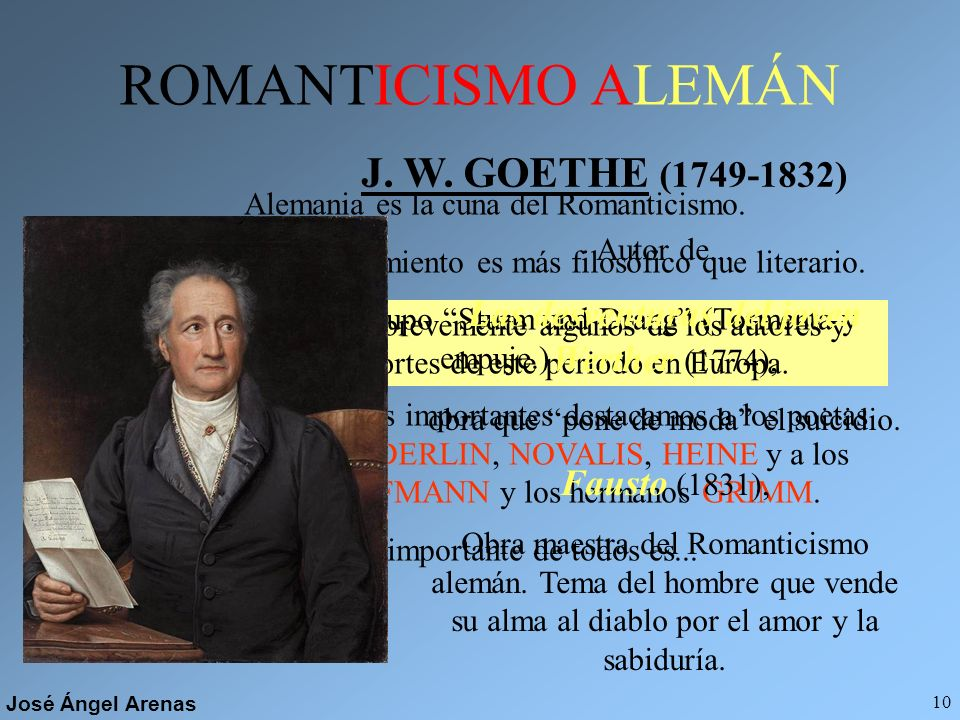 ROMANTICISMO ALEMÁN J. W. GOETHE (1749-1832)