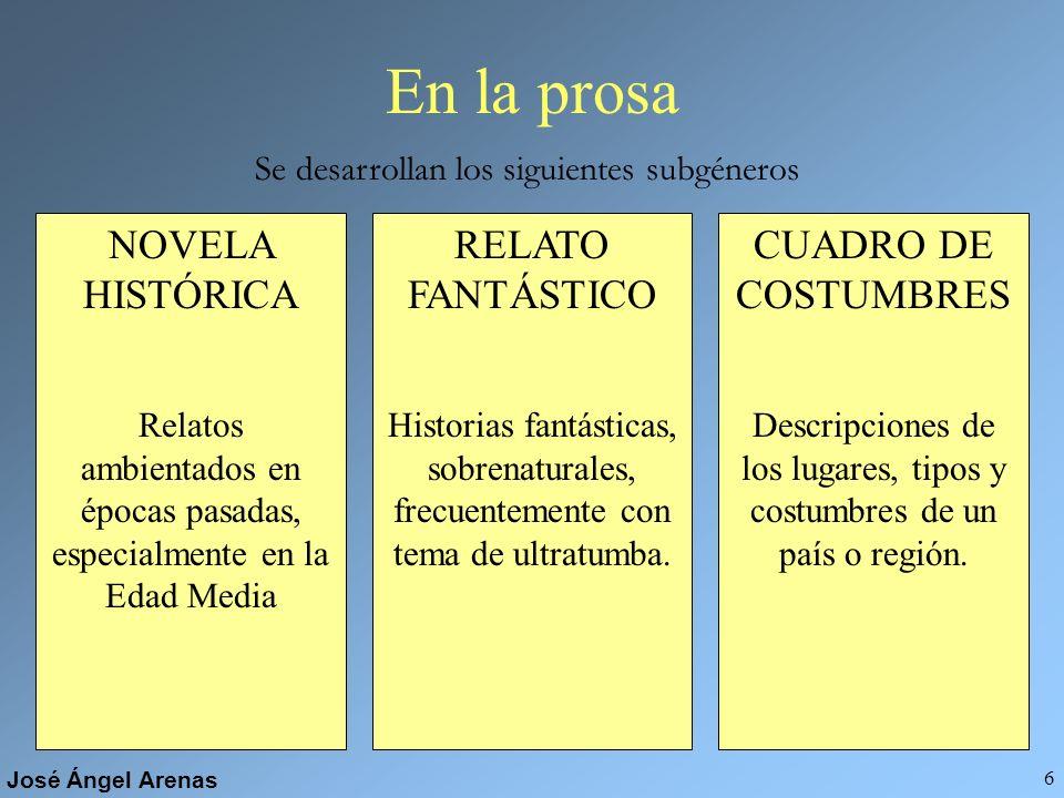 En la prosa NOVELA HISTÓRICA RELATO FANTÁSTICO CUADRO DE COSTUMBRES