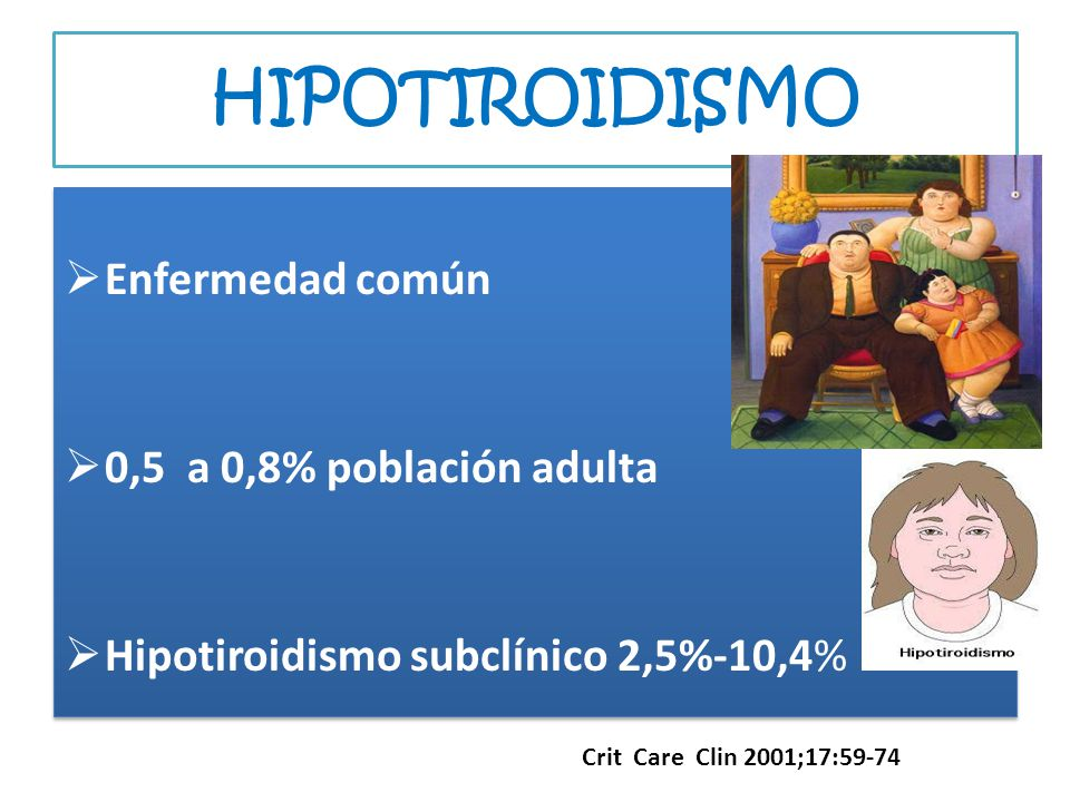 HIPOTIROIDISMO Enfermedad común 0,5 a 0,8% población adulta