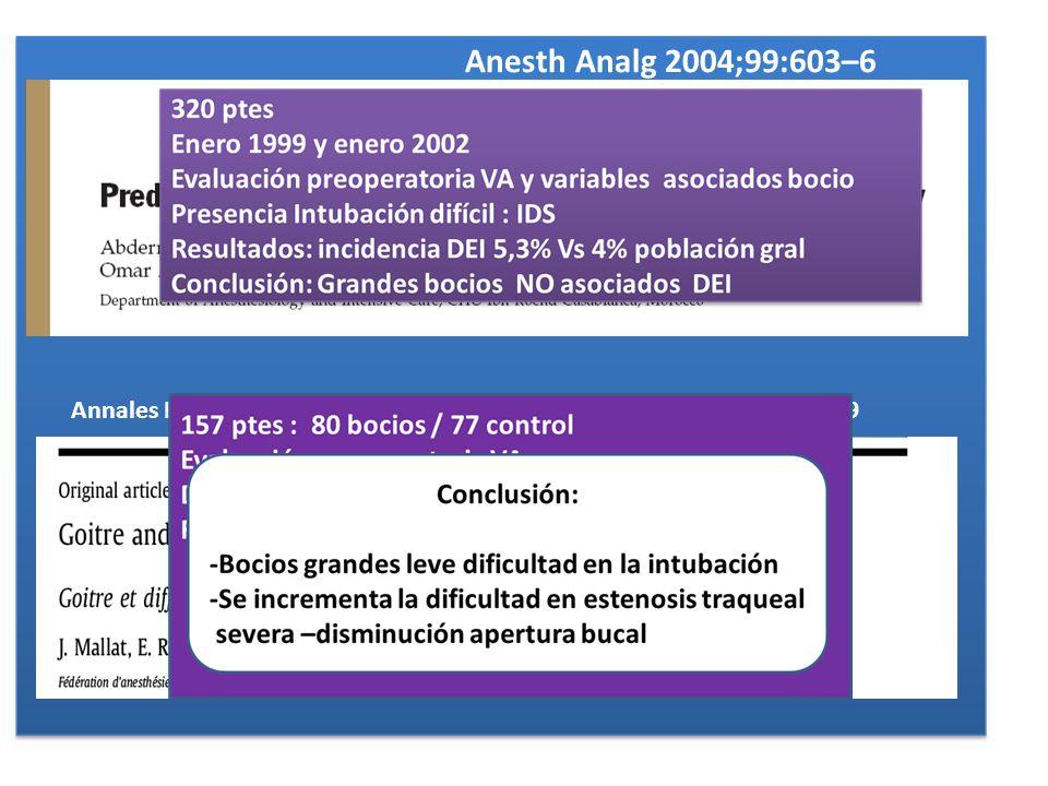 Anesth Analg 2004;99:603–6 Annales Franc¸aises d'Anesthe´ sie et de Re´animation 29 (2010) 436–439.