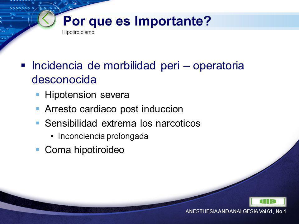 Por que es Importante Hipotiroidismo. Incidencia de morbilidad peri – operatoria desconocida. Hipotension severa.