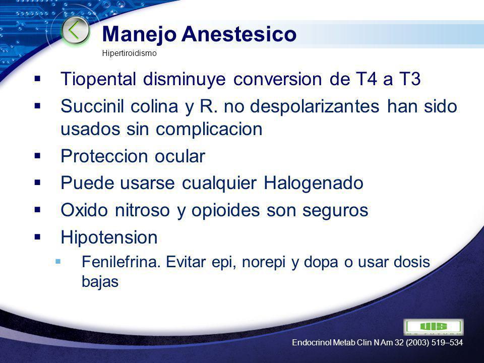 Manejo Anestesico Tiopental disminuye conversion de T4 a T3