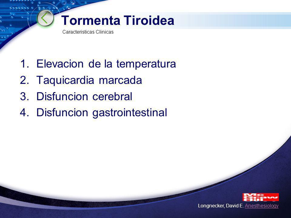 Tormenta Tiroidea Elevacion de la temperatura Taquicardia marcada