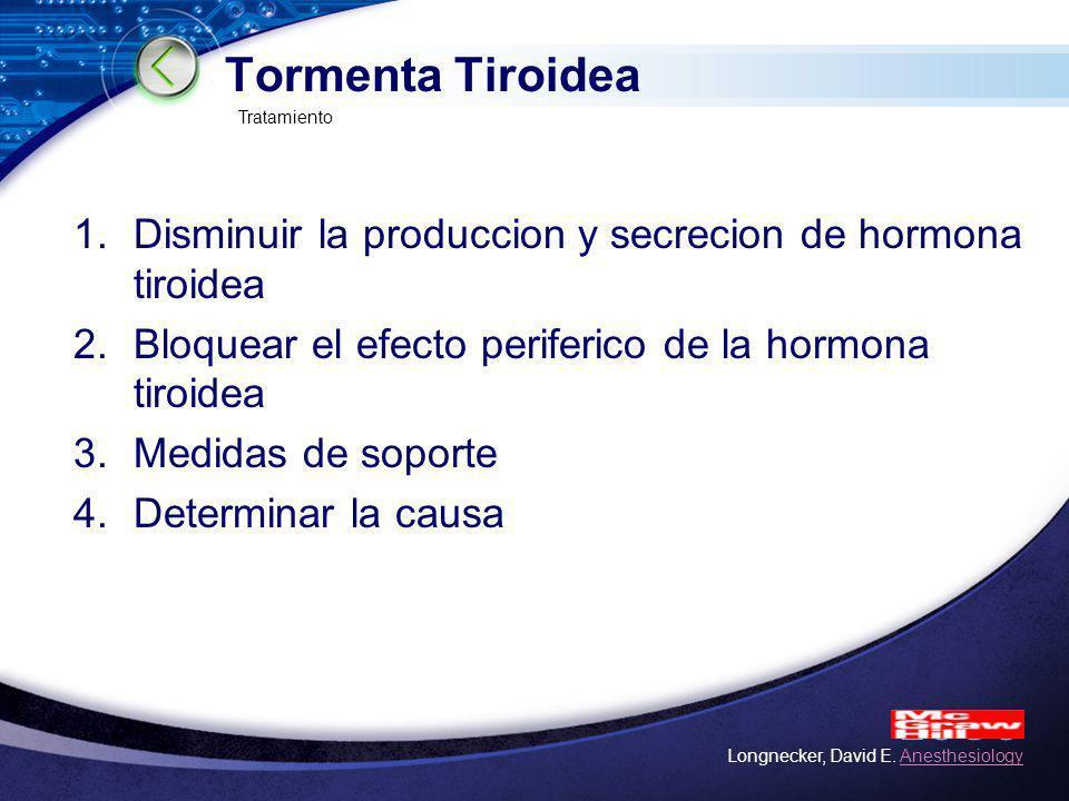Tormenta Tiroidea Tratamiento. Disminuir la produccion y secrecion de hormona tiroidea. Bloquear el efecto periferico de la hormona tiroidea.