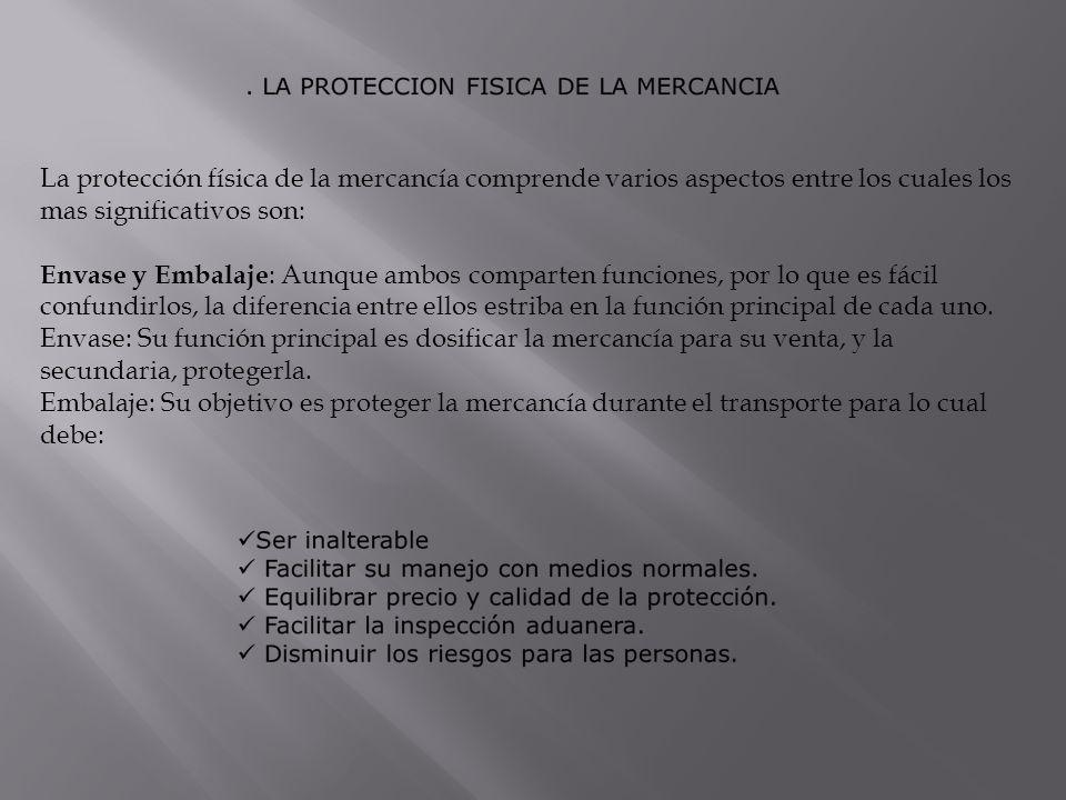 La protección física de la mercancía comprende varios aspectos entre los cuales los mas significativos son: