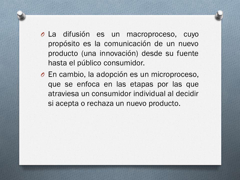 La difusión es un macroproceso, cuyo propósito es la comunicación de un nuevo producto (una innovación) desde su fuente hasta el público consumidor.