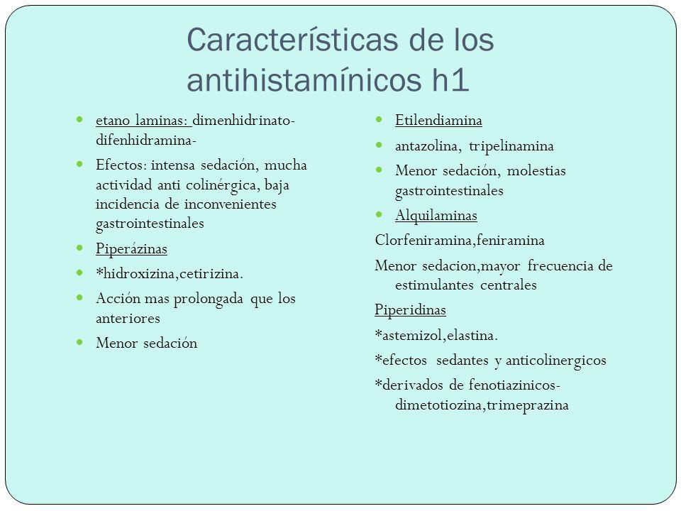 Características de los antihistamínicos h1
