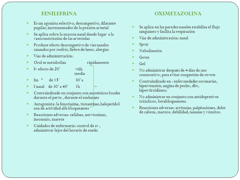 FENILEFRINA OXIMETAZOLINA