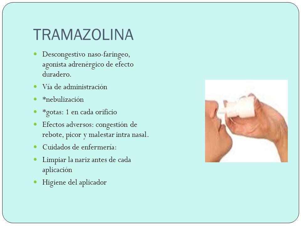TRAMAZOLINA Descongestivo naso-faringeo, agonista adrenérgico de efecto duradero. Vía de administración.