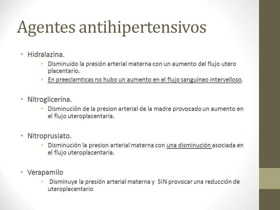 Agentes antihipertensivos
