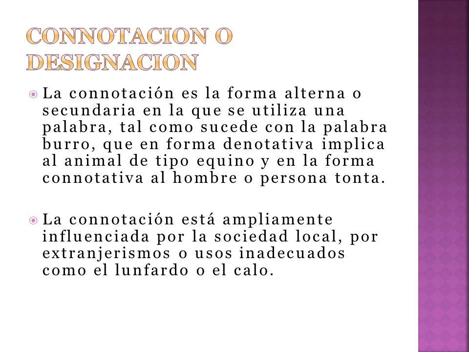 CONNOTACION O DESIGNACION
