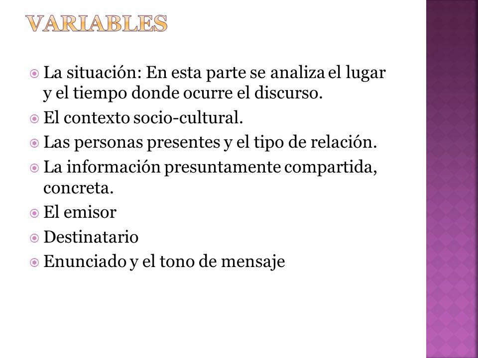 variables La situación: En esta parte se analiza el lugar y el tiempo donde ocurre el discurso. El contexto socio-cultural.