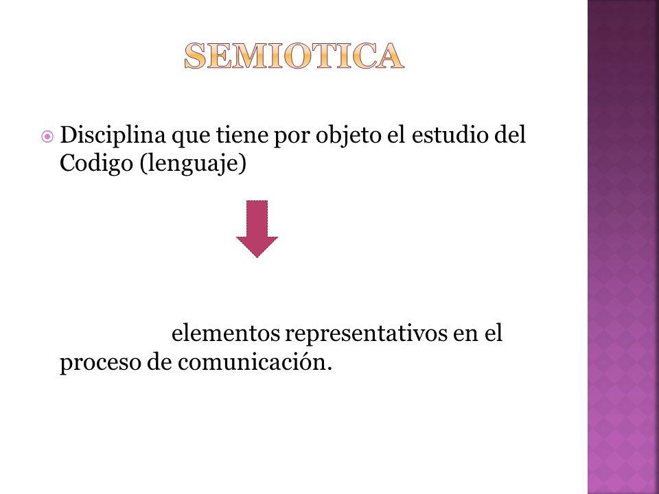 semiotica Disciplina que tiene por objeto el estudio del Codigo (lenguaje) elementos representativos en el proceso de comunicación.