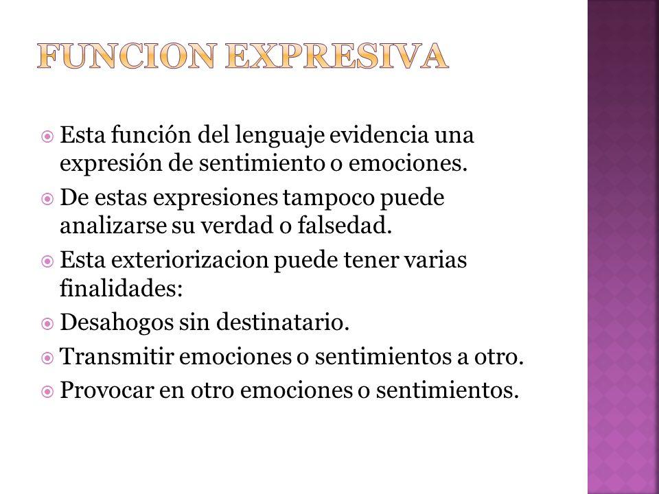 Funcion expresiva Esta función del lenguaje evidencia una expresión de sentimiento o emociones.