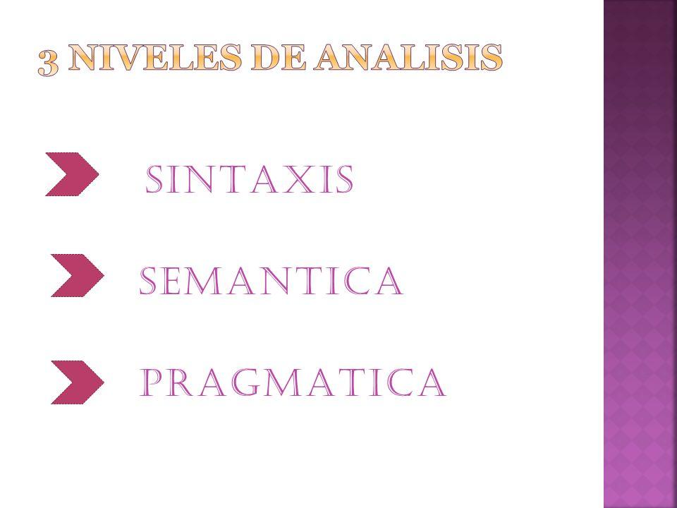 3 niveles de analisis SINTAXIS SEMANTICA PRAGMATICA