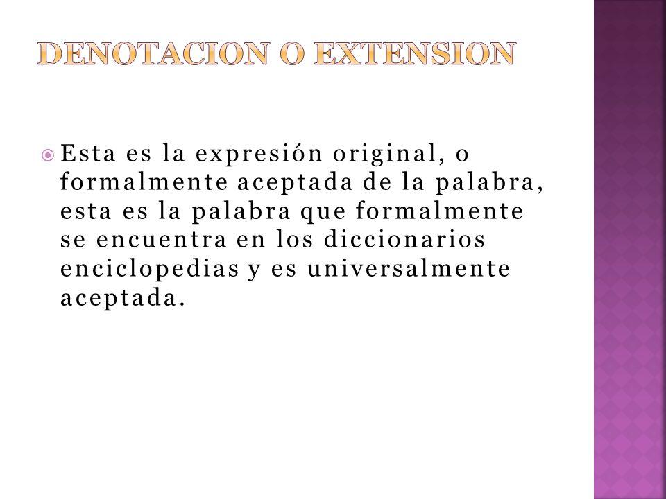 DENOTACION O EXTENSION
