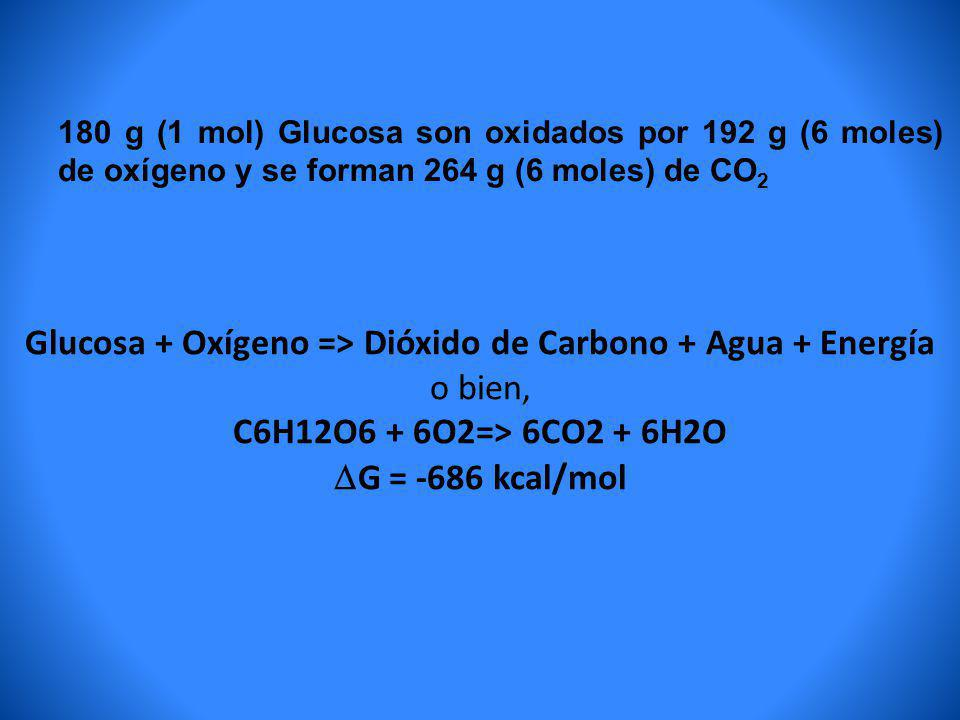 C6H12O6 + 6O2=> 6CO2 + 6H2O G = -686 kcal/mol
