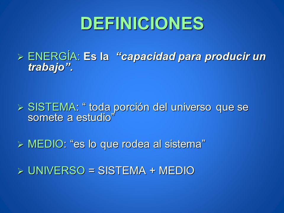 DEFINICIONES ENERGÍA: Es la capacidad para producir un trabajo .