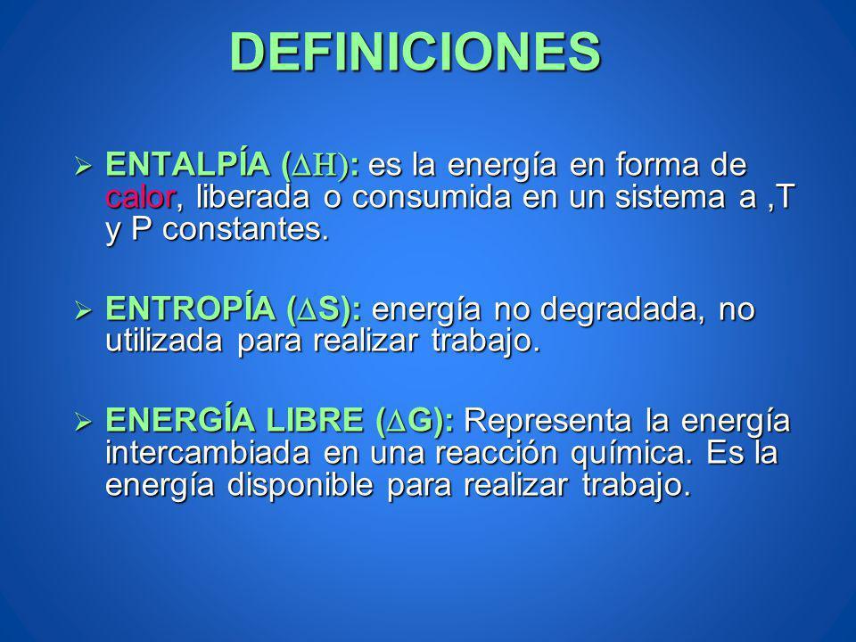 DEFINICIONES ENTALPÍA (DH): es la energía en forma de calor, liberada o consumida en un sistema a ,T y P constantes.