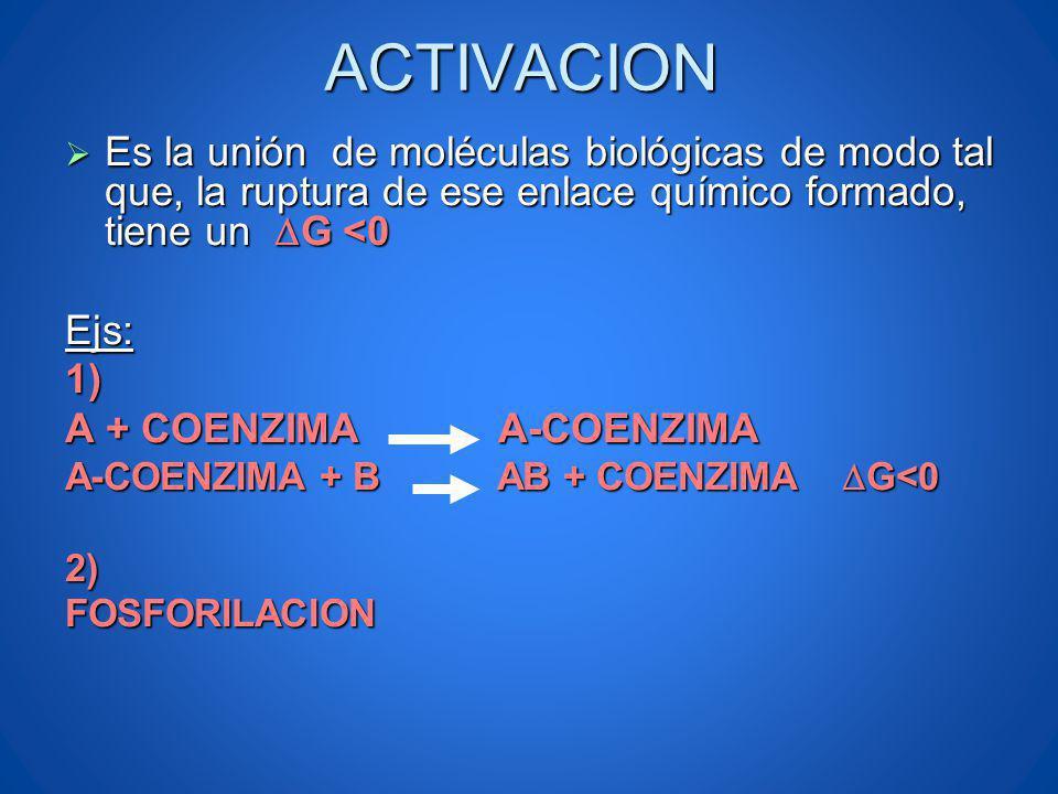 ACTIVACION Es la unión de moléculas biológicas de modo tal que, la ruptura de ese enlace químico formado, tiene un DG <0.