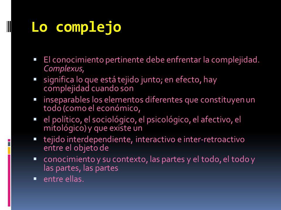 Lo complejo El conocimiento pertinente debe enfrentar la complejidad. Complexus,
