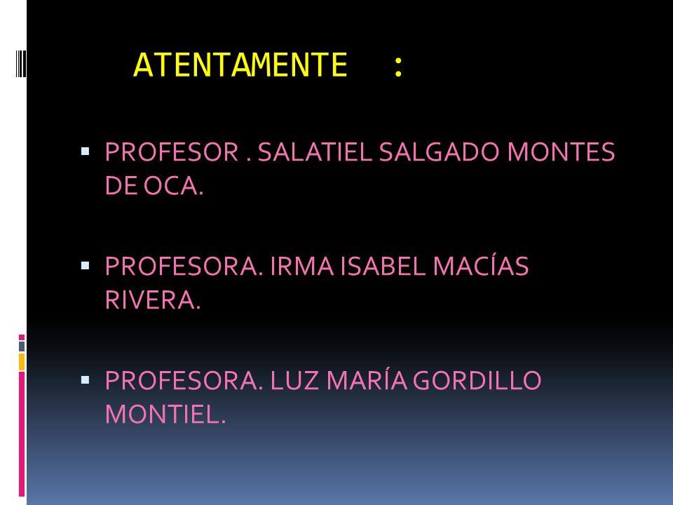 ATENTAMENTE : PROFESOR . SALATIEL SALGADO MONTES DE OCA.