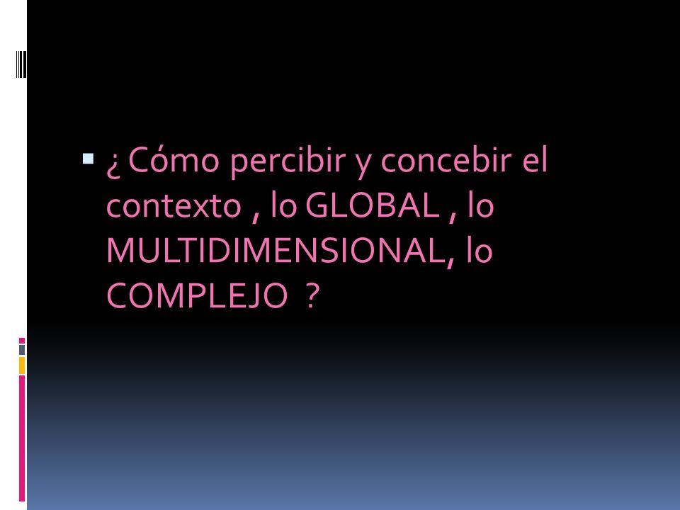 ¿ Cómo percibir y concebir el contexto , lo GLOBAL , lo MULTIDIMENSIONAL, lo COMPLEJO