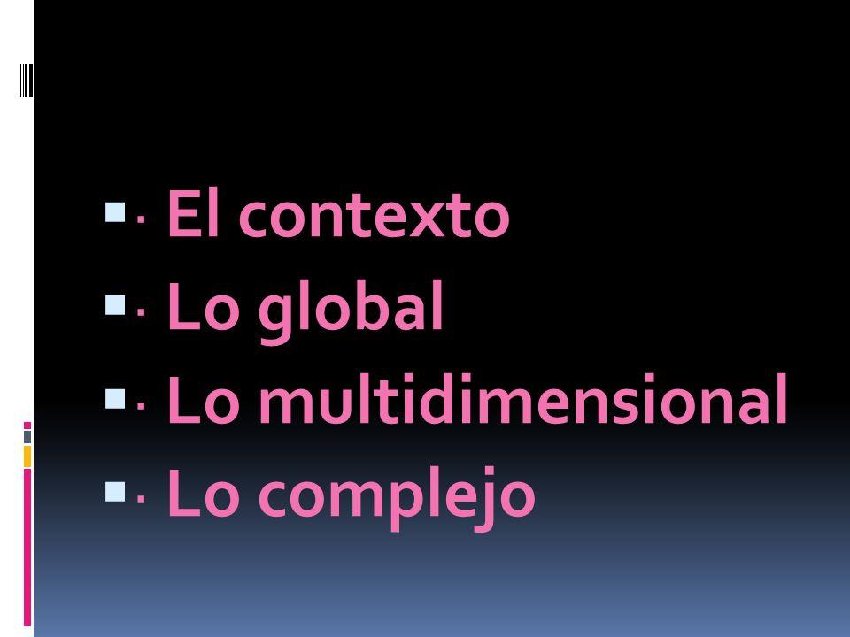 · El contexto · Lo global · Lo multidimensional · Lo complejo
