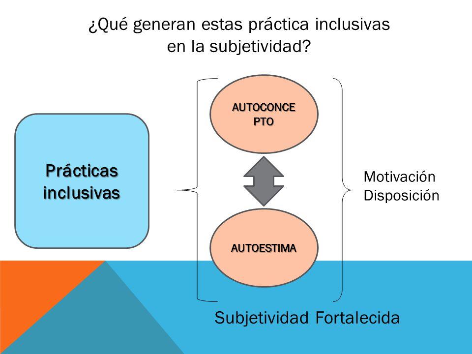 ¿Qué generan estas práctica inclusivas en la subjetividad
