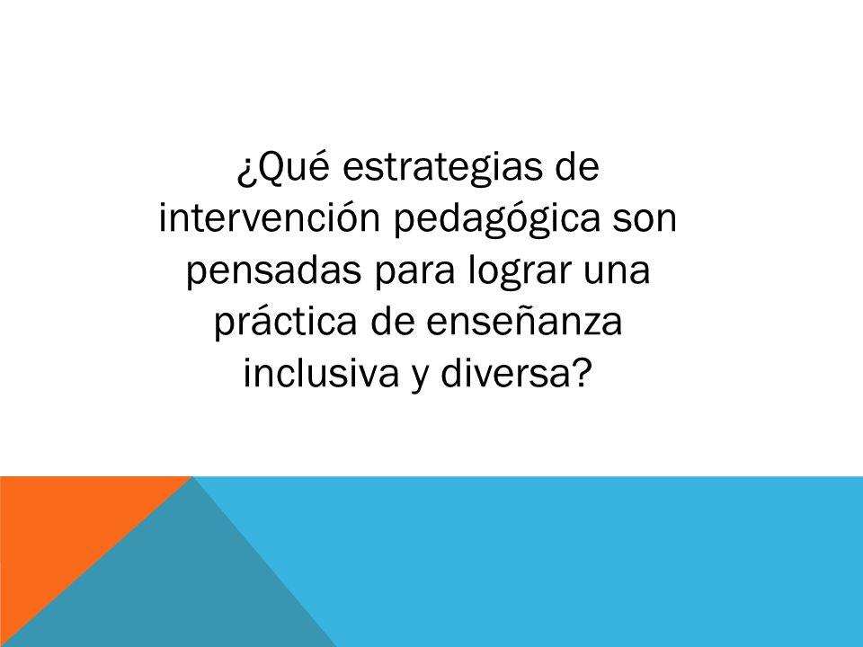 ¿Qué estrategias de intervención pedagógica son pensadas para lograr una práctica de enseñanza inclusiva y diversa