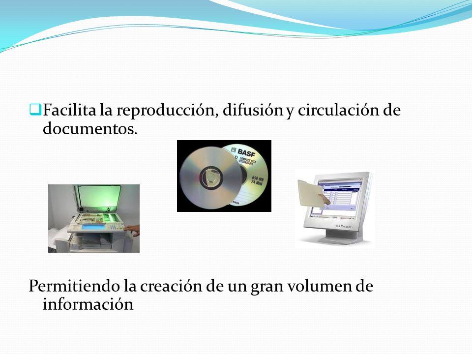 Facilita la reproducción, difusión y circulación de documentos.