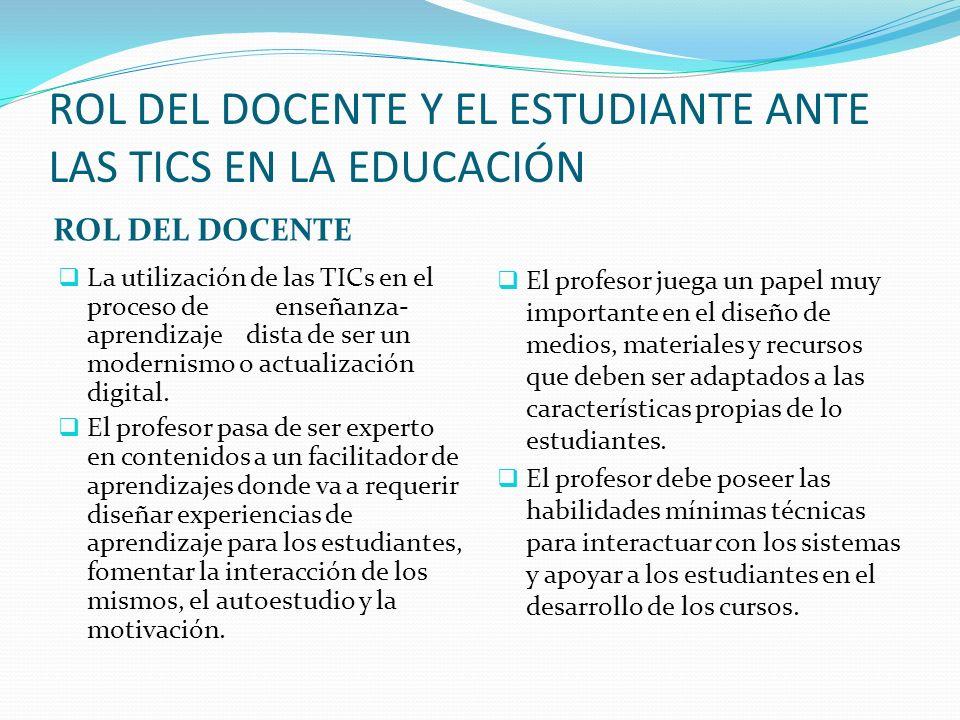 ROL DEL DOCENTE Y EL ESTUDIANTE ANTE LAS TICS EN LA EDUCACIÓN