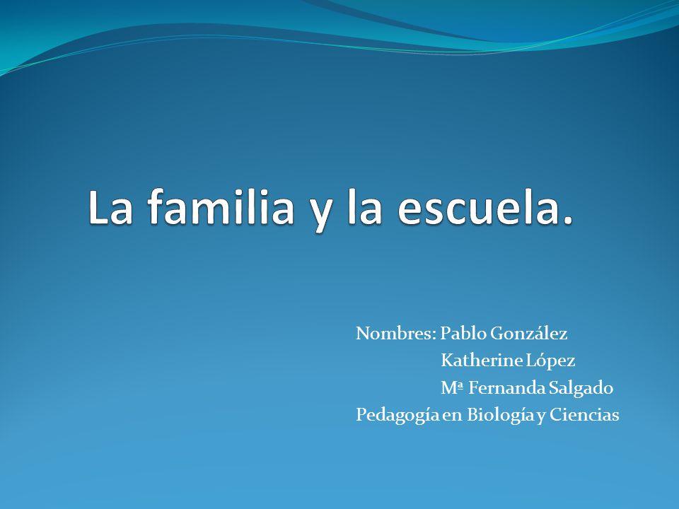 La familia y la escuela. Nombres: Pablo González Katherine López