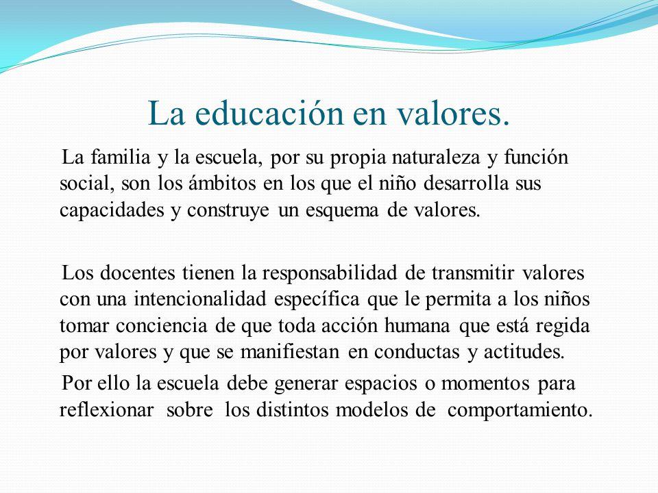La educación en valores.