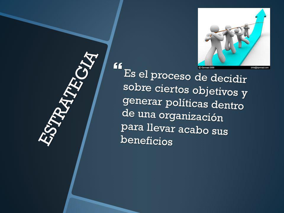 Es el proceso de decidir sobre ciertos objetivos y generar políticas dentro de una organización para llevar acabo sus beneficios