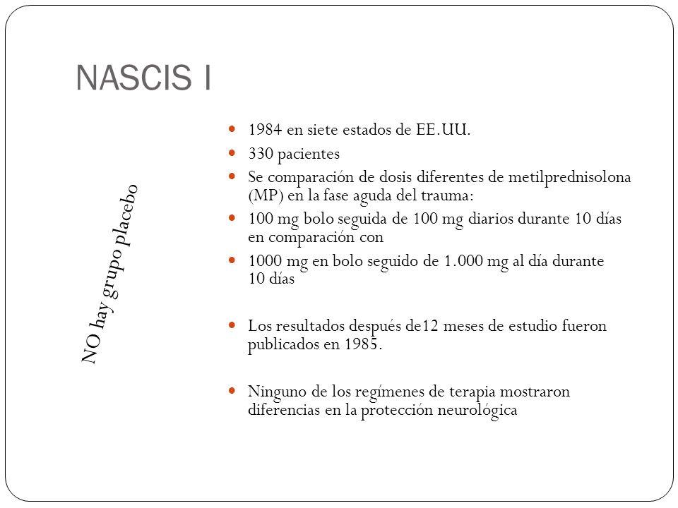 NASCIS I NO hay grupo placebo 1984 en siete estados de EE.UU.