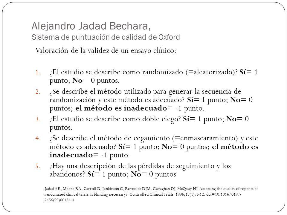 Alejandro Jadad Bechara, Sistema de puntuación de calidad de Oxford
